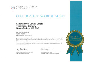 Certificate for accreditation by the College of American Pathologists' laboratory Accreditation Program