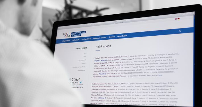 CeGaT publications website on the computer screen.
